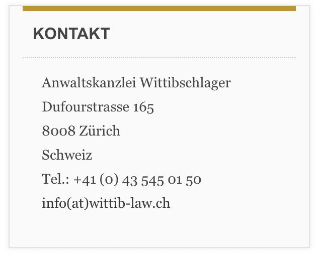 Anwaltskanzlei Wittibschlager Kontakt